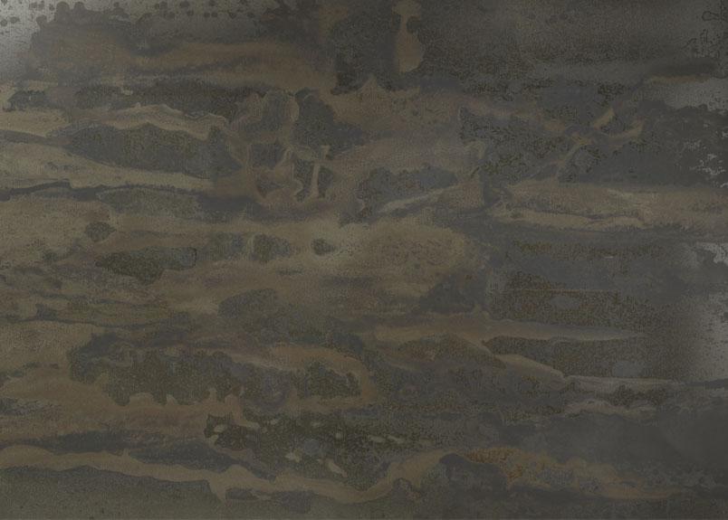 Detailansicht einer Rohplatte aus dunkler, leicht grünlichen Keramik Platte aus dem Material Dekton Radium