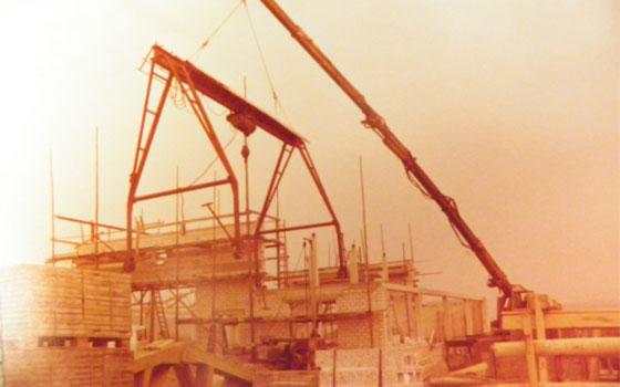 alte Fotografie von 1979 der Baustelle des ersten Geschäftsitzes von Dinger Stone in Bahlingen