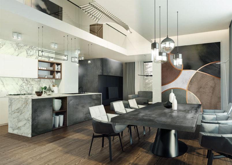 moderne Küche in Kombination mit Esszimmer mit Holzboden und Marmor Küchenfronten