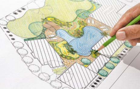 Zeichnung eine Gartenplanung mit Teich und Bepflanzung