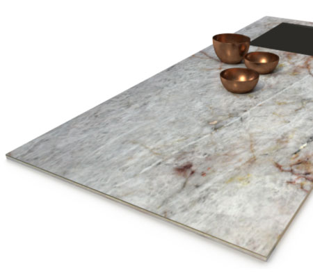 Lumix Natursteinarbeitsplatte, mit dekorativen Metallschalen