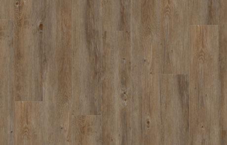 Verlegung des Vinylbodens Oak Dark in dunkler Eichenholzoptik
