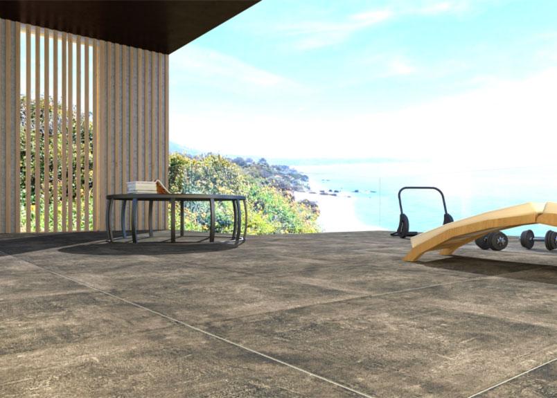 moderne Terrasse mit Meerblick und Keramik Terrassenplatte in grauer Betonoptik pureto Town grey