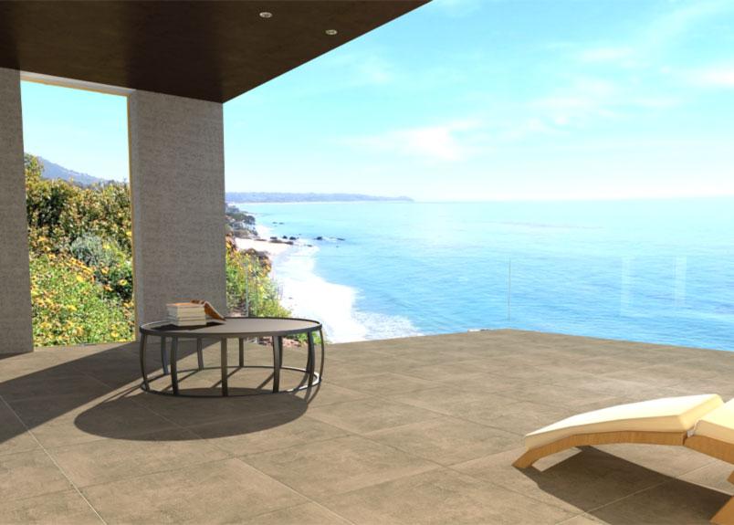 puristische Terrasse mit Meerblick und Terrassenplatten in warmgrauer Betonoptik pureto Town Grey