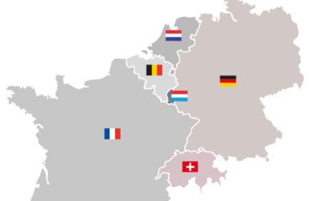 Ausschnitt einer Landkarte, die Nordfrankreich, Deutschland und die Benelux-Länder zeigt