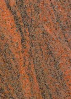leuchtend orange-roter Granit mit schwarzer Maserung
