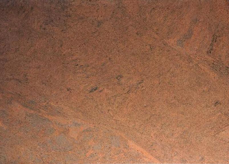 leuchtend orange-roter Granit mt schwarzer Maserung
