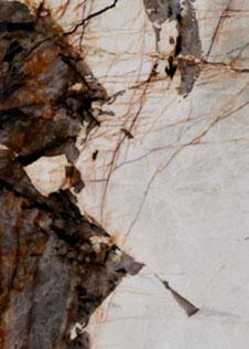 markante, von Adern durchzogene Natursteinplatte mit Kontrast in Braun und Weiß