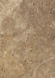 Detailaufnahme des beige-braunen Kalksteins Travertin Noce mit großen Poren